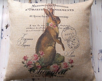 Decorative Pillow Cover - French Country - Vintage Bunny - Grainsack Style - Throw Pillow Cover - Easy Care Burlap - Spring Decor