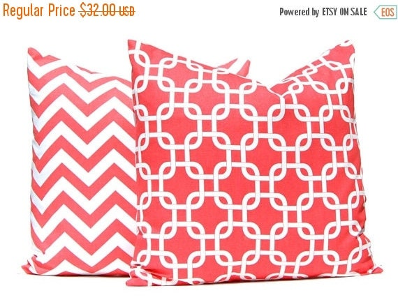 30% Off Sale Coral Pillow Covers -  Decorative Throw Pillow Covers - Beach Decor - 20 x 20 Inches - Sofa Pillows - Chevron Pillow Cover - Co