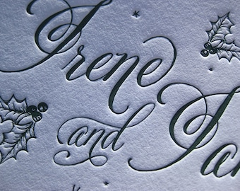 Winter Wedding Holiday themed Letterpress Wedding Invitations