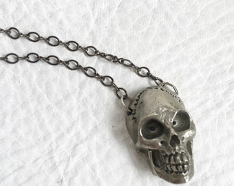 SALE White Bronze skull necklace Silver toned skull pendant Skull Jewelry
