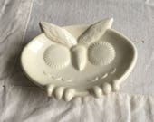 Vintage owl dish  small owl  ceramic gum holder  white ceramic owl