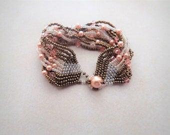 Peach Swarovski Crystal and Pearl Bracelet
