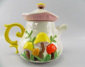 Vintage Ceramic Mushroom Tea Pot Arnel's 1970s Orange Yellow Pink Funky Retro