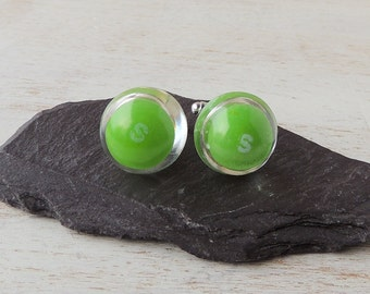 Green Skittles Cufflinks, Real Sweets Candy, Letter S, Resin Jewellery, Resin Cufflinks, Sweet Cufflinks, Quirky Jewellery, UK, 1388
