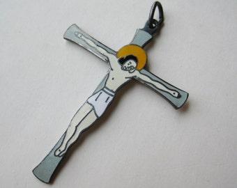 Vintage Art Deco Dutch Sterling Silver Enamel Jesus Crucifixition Cross Necklace Pendant