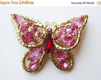 HOLIDAY SALE Vintage Pink Rhinestone Jeweled Gold Butterfly Brooch Pin