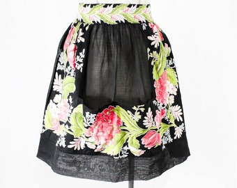 1940s Sheer Black Apron with Botanical Spring Flowers Trim - Size Large - Waist 30 to 34 - Half Apron - 40s 50s Cotton Organdy - 48410