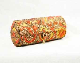 Glamour Girl Evening Purse - 60s Orange & Gold Rhinestone Minaudiere - 1960s Formal Cylinder Box Style Handbag - Deadstock with Tag - 48888