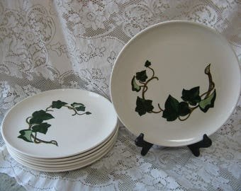 metlox poppy trail california ivy dinner plates set of 3 hand painted mid century pottery