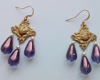 Art nouveau amethyst earrings