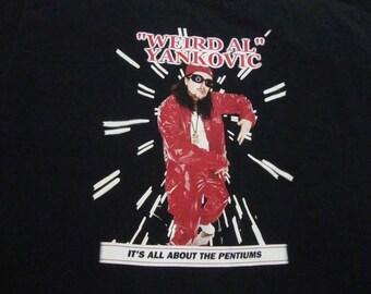 Vintage 90's Weird Al Yankovic It's All About The Pentiums Rap Hip Hop Concert Tour T Shirt adult size 2XL