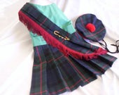 """OOAK   Gunn Tartan Harness Kilt and Hat for Dogs.  Size Large only 16"""" long"""