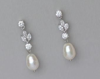 Bridal Earrings,Crystal Pearl Earrings, Pearl Drop Earrings, Pearl Bridal Jewelry, Wedding Earrings, ASHLEY SP