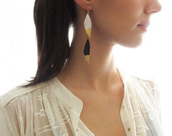 Long Feather Earring | Gold Dipped Feather | Gold Dipped Feather Earring | Layered Feather Earring | Black Gold Dipped Feather |