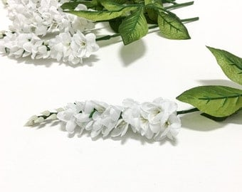 6 WHITE Freesia Sprays - Artificial Flowers, Silk Flowers, Flower Crown, Halo, Wedding Crown, Hair Accessories, Millinery