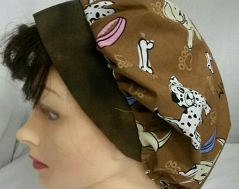 Dogs Print Soap Making Hat Scrub Cap Ladies Medical Nurse Cap Washable Cotton Fabric Ready-Made