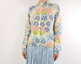 VINTAGE Floral Cardigan 1960s Flower Sweater Mohair
