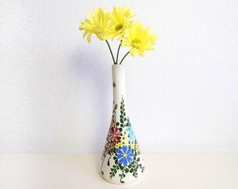 VINTAGE Floral Vase White Porcelain Bud