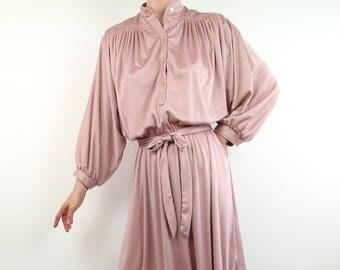 VINTAGE Blush Dress 1970s Batwing