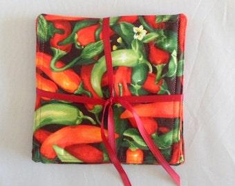 Chili Pepper Mug Rugs 4 Fabric Coasters Reversible Mug Rugs Gift for Hostess Gift for Her  Gift for Him Made in the USA