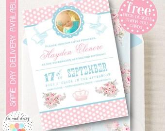 Princess Invitation, Princess Birthday Invitation, Princess Party, Shabby and Chic Birthday Invitation, Printable Princess Photo Invite