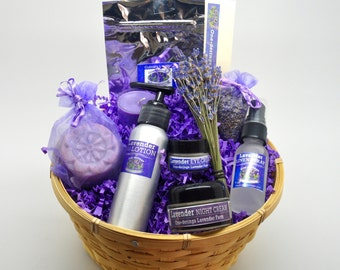 Lavender Gift Basket-Free Same Day Shipping-LOTION OPTION--Travel and Home Size