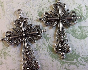 SALE Vintage Style Antique Silver color plated crosses 2 pcs.  64mm x 42mm