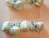 Vintage Pair of Hair Combs with Seashells Sea Shells and Faux Pearls Clear Combs 1980s Hand Made