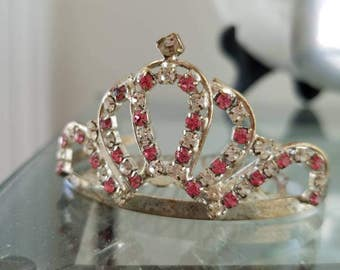 Vintage Clear and Pink Rhinetones Silver Tone Metal Tiara With Comb As Is