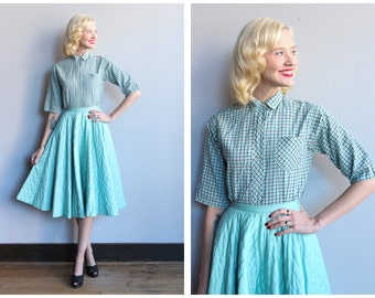 1950s Shirt // Plaid Cotton Blouse // vintage 50s blouse