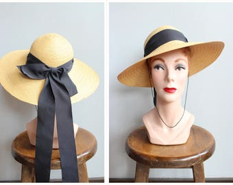 1940s Hat // Afternoon Bicycle Ride Straw Hat // vintage 40s hat