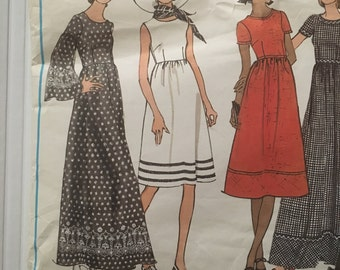 70s Vogue 2505 Fitted Bodice Below Knee Length or Maxi, Sleeveless and Pants Basic Design - Size 12 Bust 34