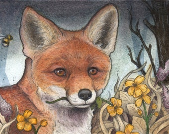 Wild Flower Fox....Original 5x7 Illustration