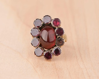 Layaway Payment #1 of 3 -----Love Child Garnet Halo Cabochon Ring 10k Yellow Gold