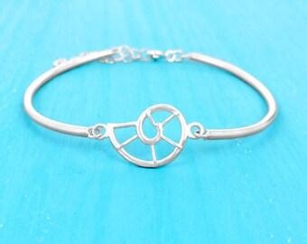 Nautilus Shell Bracelet - Sterling Silver - Adjustable - Charm Bracelet - Beach Jewelry - Coastal Jewelry - Resort Jewelry - Summer Jewelry