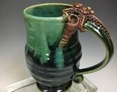 STARFISH and SEASHELL Handmade Pottery Coffee Mug Emerald Green
