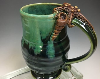 STARFISH and SEASHELL Handmade Pottery Coffee Mug Emerald Green