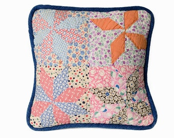 Retro Pillow Cover, 12 In. Vintage 1930s Feedsack Quilt, Pinwheel Pattern, Bright Multi Colors, Blue Denim Piping, 2 Versions