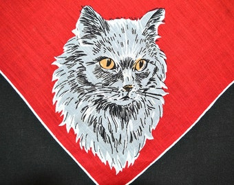 VINTAGE CAT HANKIE, Grey Persian Cats at Each Corner on Bright Red Linen, 3 Poses Long Haired Cat, White Hand Rolled Hem Excellent Condition
