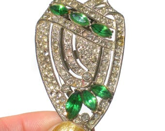 Green and Silver Dress Clip Clear Pave Style Rhinestones with Marquise Rhinestones - Art Deco Vintage Jewelry