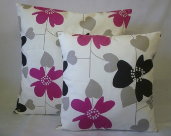 """PAIR Pink Pillow Covers Fuschia Grey Black Floral Designer Cushions Throws Scatter Decorative Funky Pillows 16"""" (40cm)"""