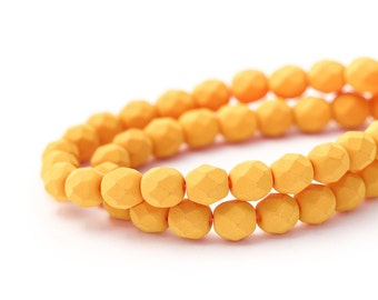 Pumpkin Czech Glass Faceted Round Spacers, Matte Opaque Saturated Deep Yellow, Fire Polished Beads, 6mm x 25pc (0017)