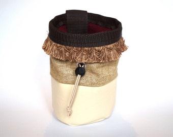 Cream and gold FRINGE chalk bag