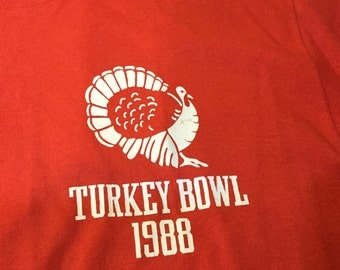 Vintage TURKEY Bowl 1988 T-Shirt Red and White XL Shortsleeves