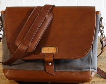 GENTLY USED - The Messenger Bag - Charcoal Gray with Whiskey (see photos)