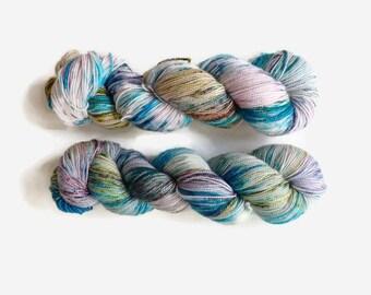 "Hand dyed sparkle sock yarn  colourway ""Starálfur""- Merino, Nylon and Stellina, Fingering - Brilli Brilli base"