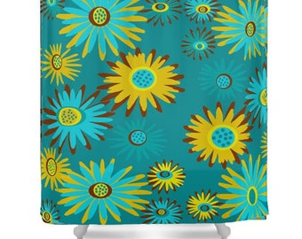 Blue Floral Shower Curtain,  Modern Floral Shower Curtain, Colorful  Flower Shower Curtain, Funky Floral Shower Curtain