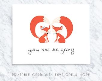 fox cards, printable fox card, valentines card, relationship card, romantic card, anniversary printable, digital cards