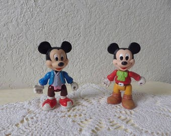Two Mickey Mouse Action Figures. Made by ARCO. Moveable Arms, Legs and Head. 5 Inches Tall.