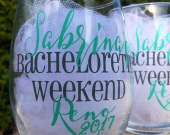 Set of 11, Bachelorette stemless wine glasses, bachelorette weekend, bachelorette glasses, bridesmaids glasses